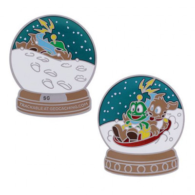 2019 Signal the Frog® Snow Globe Geocoin - GULD special