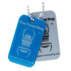 Geocaching QR Travel Bug - Blå (glow in the dark)