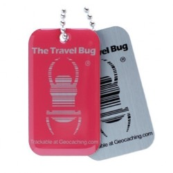 Geocaching QR Travel Bug - Atomic Pink (glow in the dark)