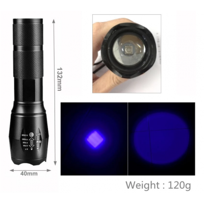Ultraviolet UV Torch 365nm med zoom (ravlygte)