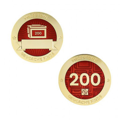 Milestone Geocoin and Tag Set - 200 Finds