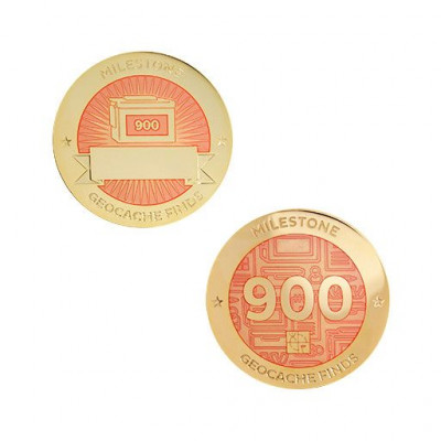 Milestone Geocoin and Tag Set - 900 Finds