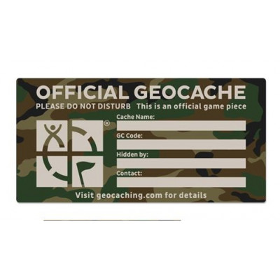 X-Large Cache Label- Green Camo  25,5 x 12,5 cm