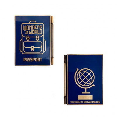 Wonders of the World Passport Geocoin og Trackable Tag Set