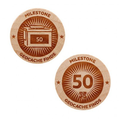 Milestone Wooden Nickel SWAG Coin - 50 Finds