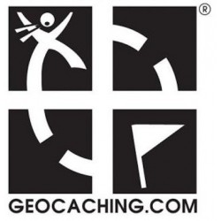 Geocaching.com SORT logo sticker - udvendig til bil