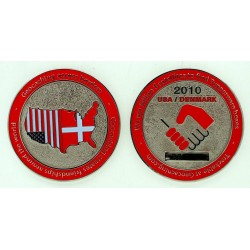 Geocaching Across Borders Geocoin USA Denmark 2010
