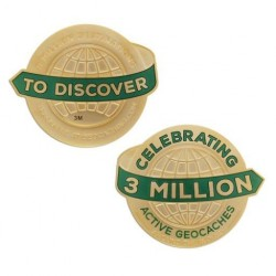 3 Million Geocaches Geocoin - Antique Gold XL