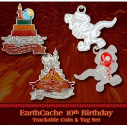 EarthCache 10 Year Anniversary Geocoin and Tag Set 2014