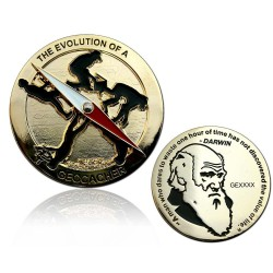 The Evolution of a Geoacher geocoin blank guld