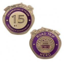 ROAD TRIP HERO geocoin - Celebrating 15 years Geocaching